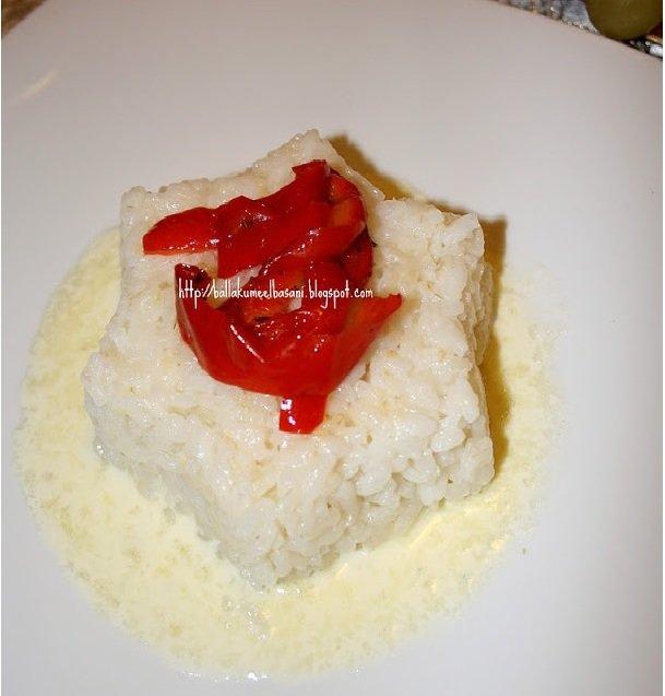 Pilaf me krem djathi dhe speca të pjekur